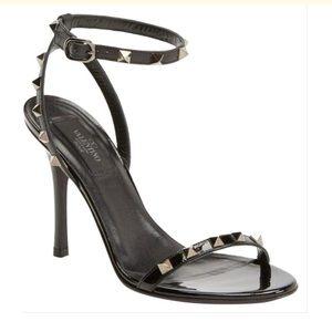 Valentino Noir Ankle Strap Rockstud Sandals 38 1/2